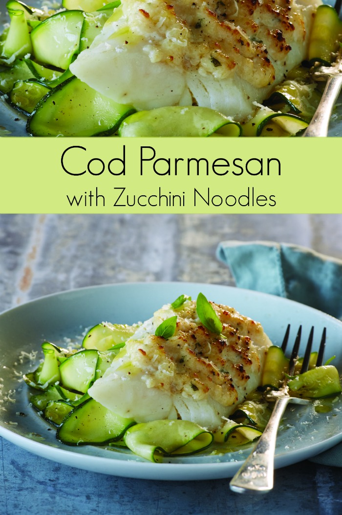 Cod Parmesan Recipe with Zucchini Noodles