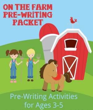 On the Farm Pre-Writing Packet for Preschoolers