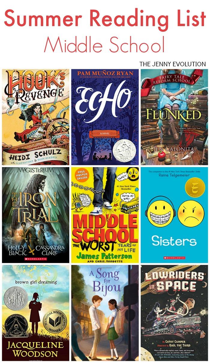 middle school summer reading list the jenny evolution