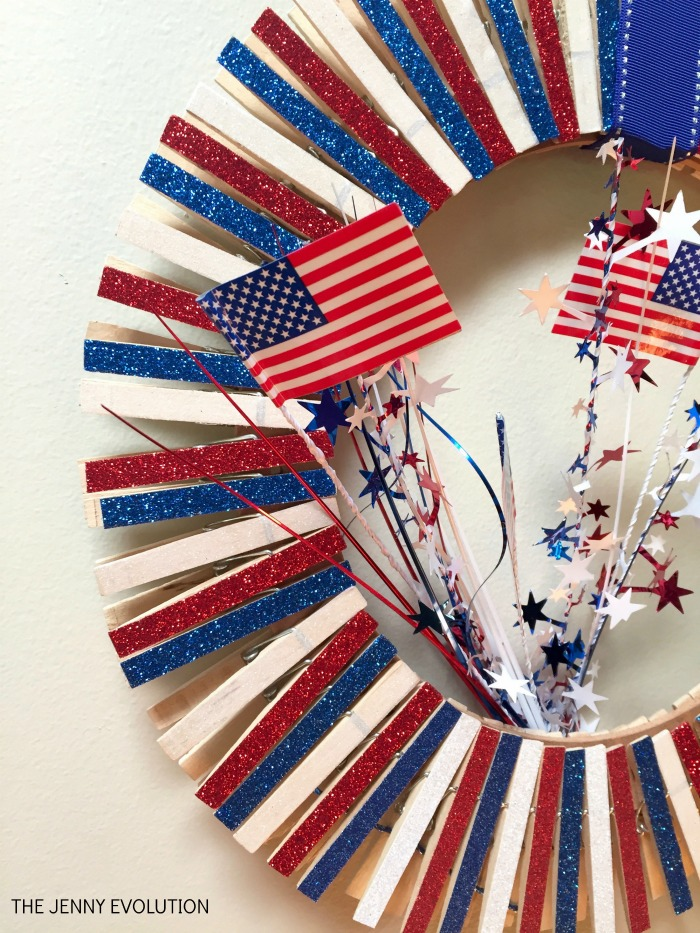 Close Up Fourth of July Wreath