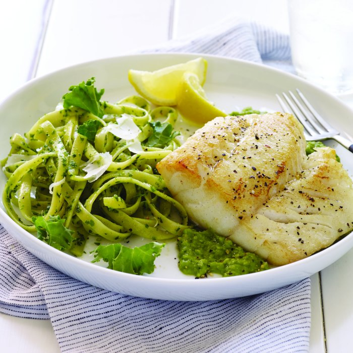 Cod with Minted Pea Puree Recipe - square