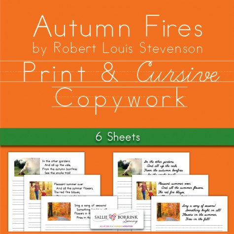 """Autumn Fires"" Poetry Fall Copywork - FREE printable"