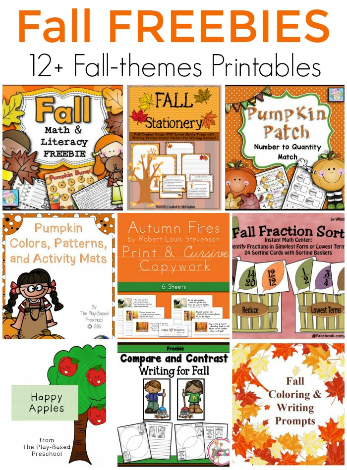 Fall Freebies! 12 Fall Themed Free Printables