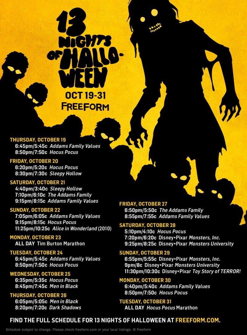 13 Nights of Halloween Movies on Freeform - The schedule is here!!!!