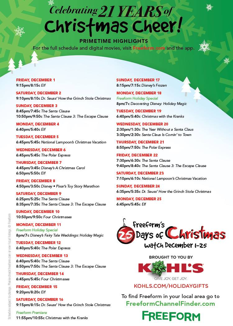 free 25 days of christmas 2017 schedule highlights