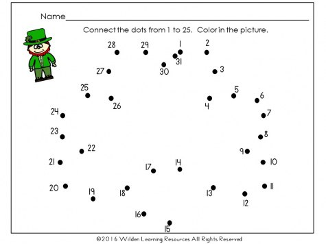 free st patricks dot to dot shamrock children can practice counting and recognizing numbers to 30 with this st patrick dot to dot page