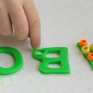 Beaded Playdough Fine Motor Letter Activity for Kids