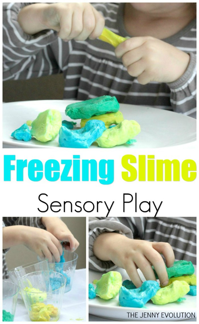 Frozen Slime Science Sensory Play... A fun way to explore the science of freezing with younger ones!