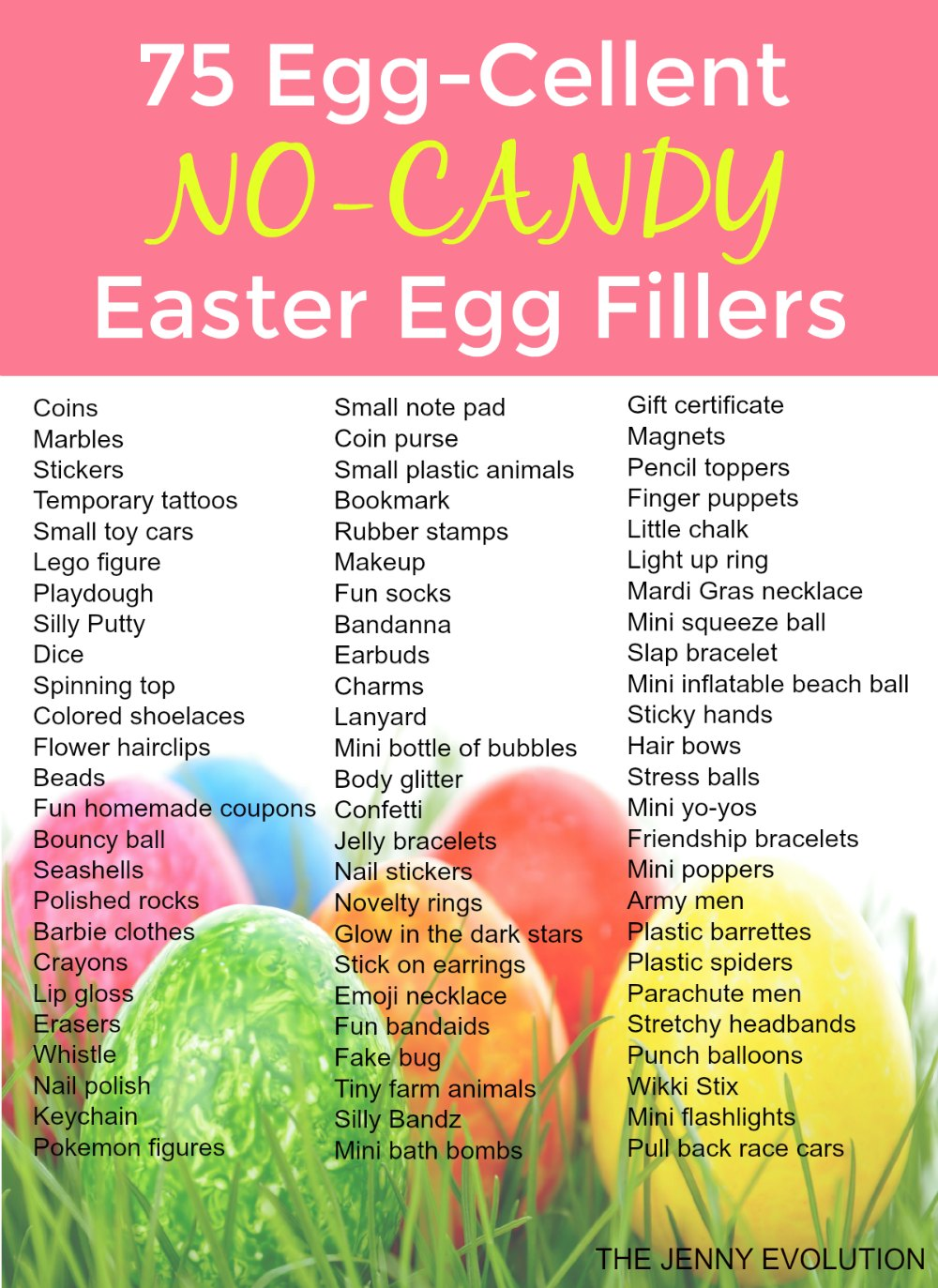 75 Egg-Cellent Non Candy Easter Egg Fillers - Perfect for filling Easter baskets with no food! | Mommy Evolution