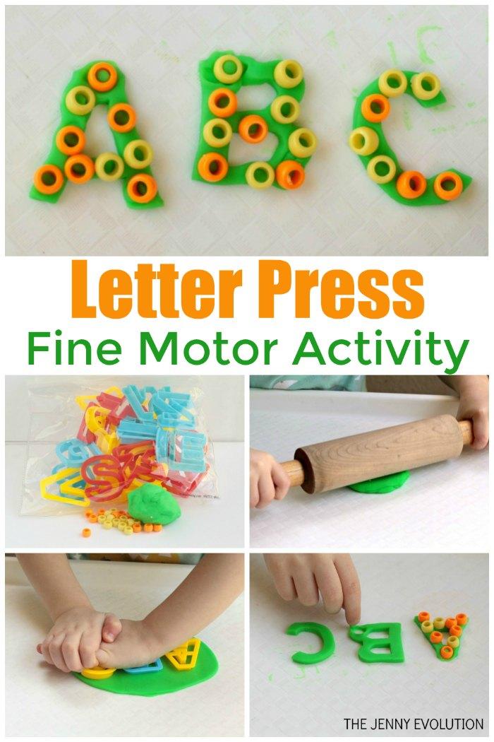 Beaded Playdough Fine Motor Letter Activity for Kids | The Jenny Evolution