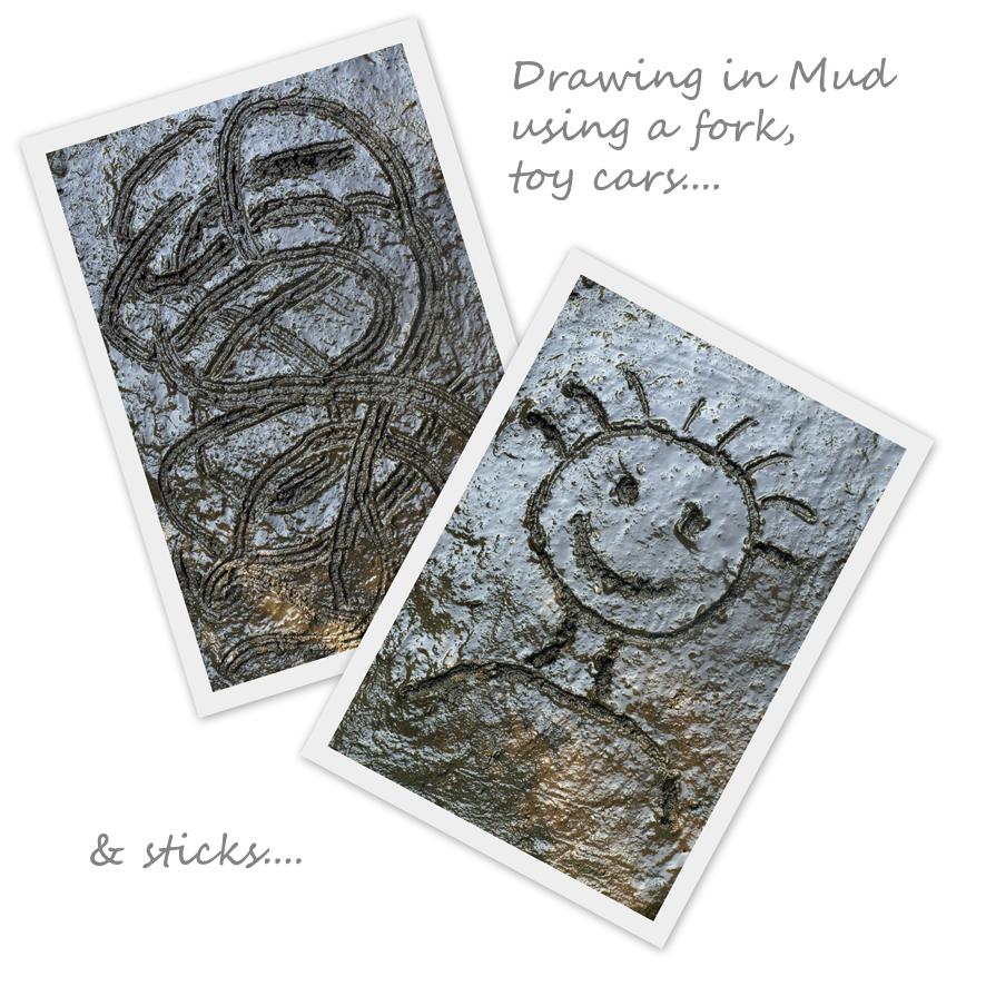 Draw in the Mud or Dirt Using a Fork, Toy Car or Sticks