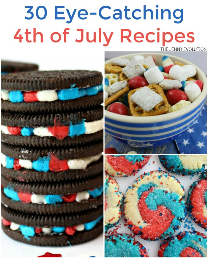 30 Eye-Catching 4th of July Recipes. Perfect for a picnic, backyard BBQ or neighborhood gathering | Mommy Evolution