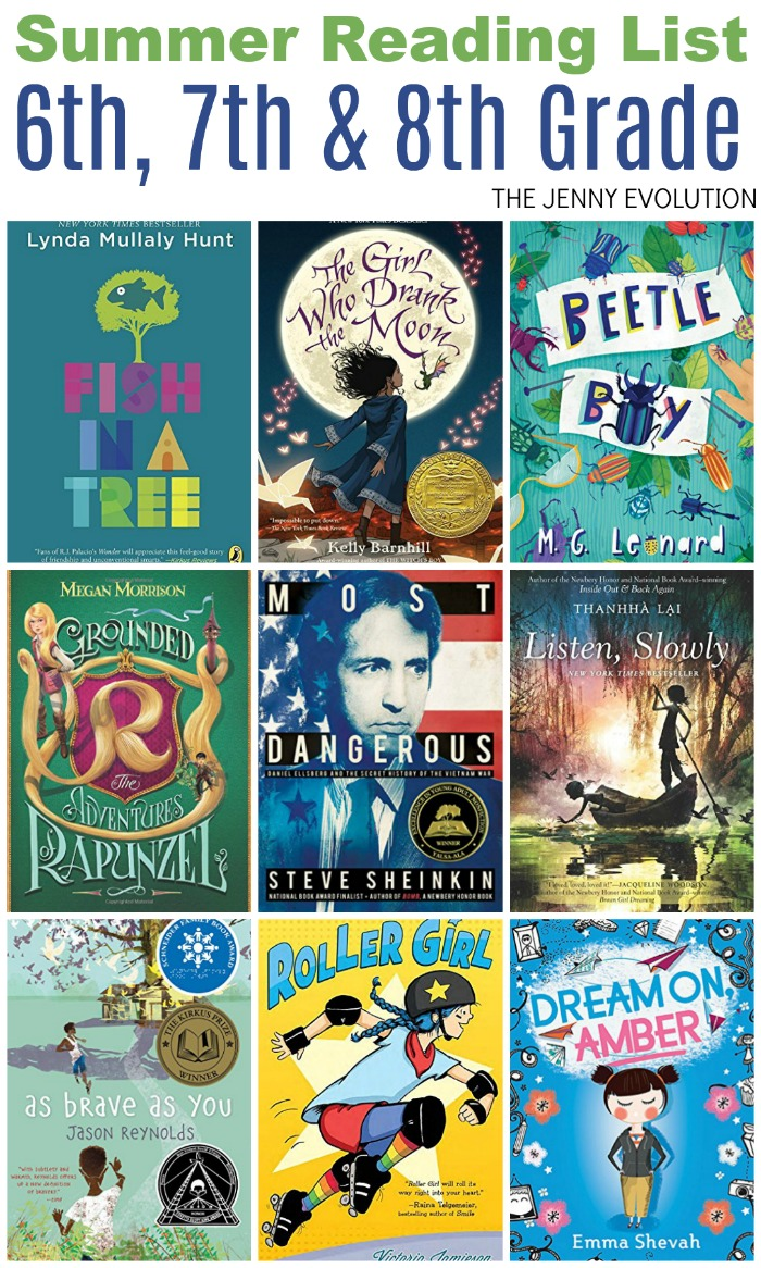 Summer Reading List 6th Grade, 7th Grade & 8th Grade