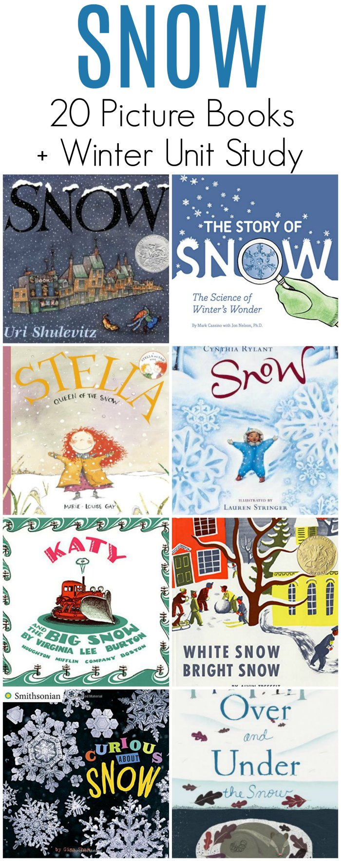 Snow Childrens Books - 20 picture books about snow + winter unit study | Mommy Evolution