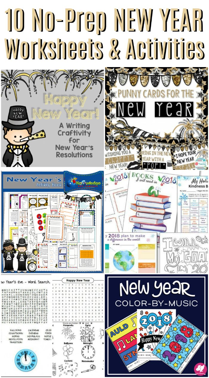 No-Prep New Years Worksheets and Activities