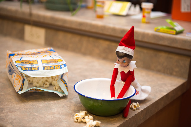 Elf on the Shelf Making popcorn for movie night