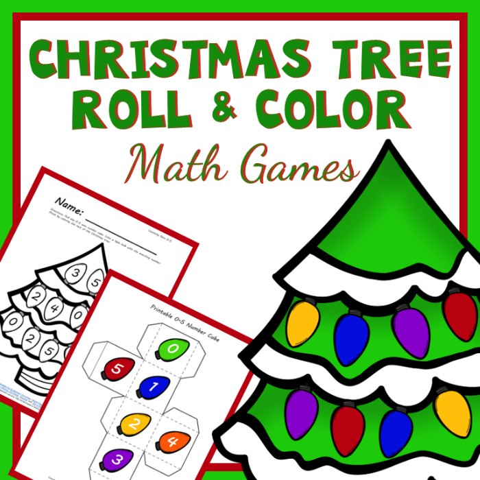 Christmas Tree Roll and Color Math Games