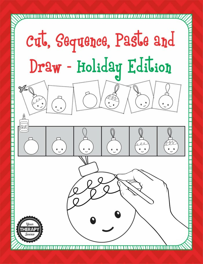 Christmas Holiday Edition Cut, Sequence, Paste and Draw