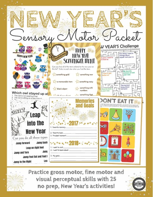 new year's sensory motor packet