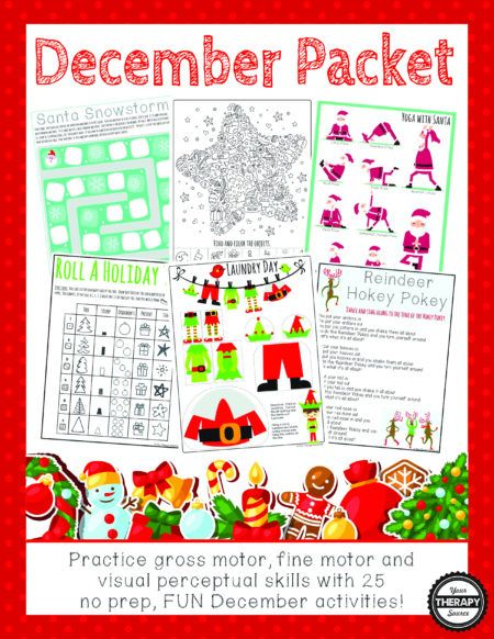 December Packet - practice gross motor, fine motor and visual perceptual skills with 25 no prep, fun december activities!