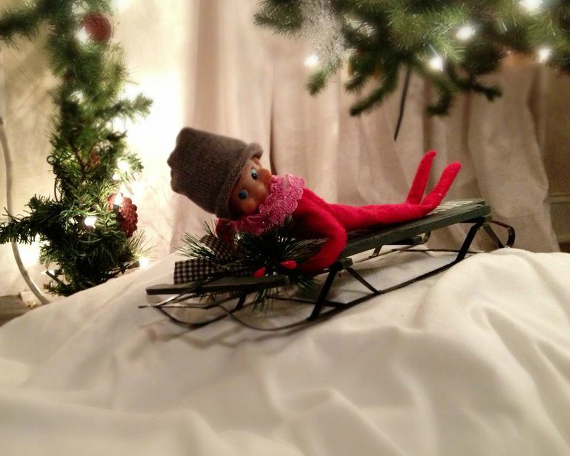Sledding down the hill - Elf on the Shelf