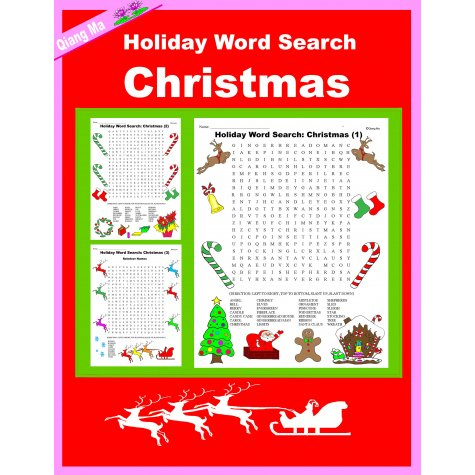 holiday word search christmas - includes 3 different holiday word searches