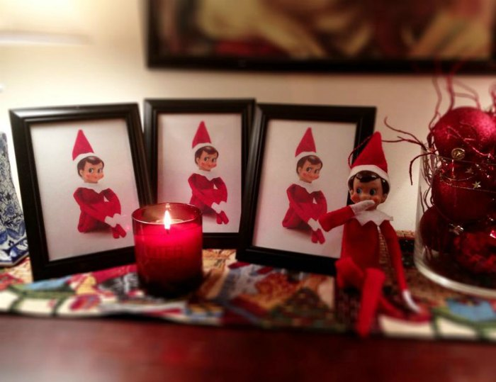 Replace your family photos with pictures of the Elf. That naughty elf!