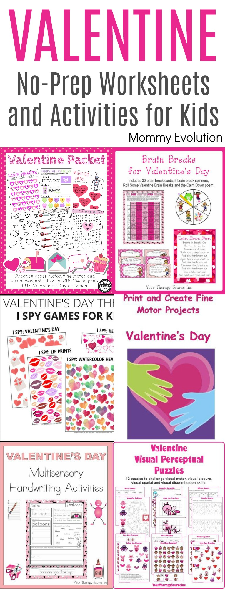 No-Prep Valentine Worksheets and Activities for Kids - Perfect for Classroom, School Party or School Occupational Therapy | Mommy Evolution
