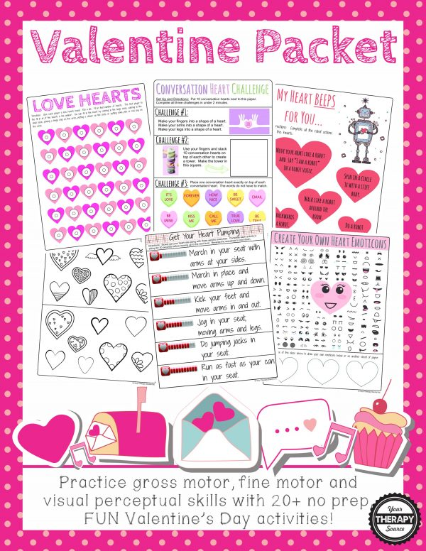 Valentine's Day Sensory Motor Packet: Practice fine motor, gross motor, visual perceptual activities with this NO PREP, fun, Valentine themed packet.  This is an excellent activity packet for in class activities, therapy sessions, Valentine's Day parties, carry over activities, brain breaks, early finishers and indoor recess.