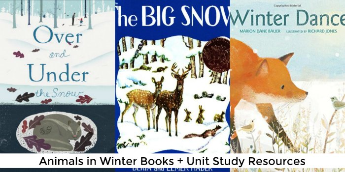 animals in winter books + unit study resources