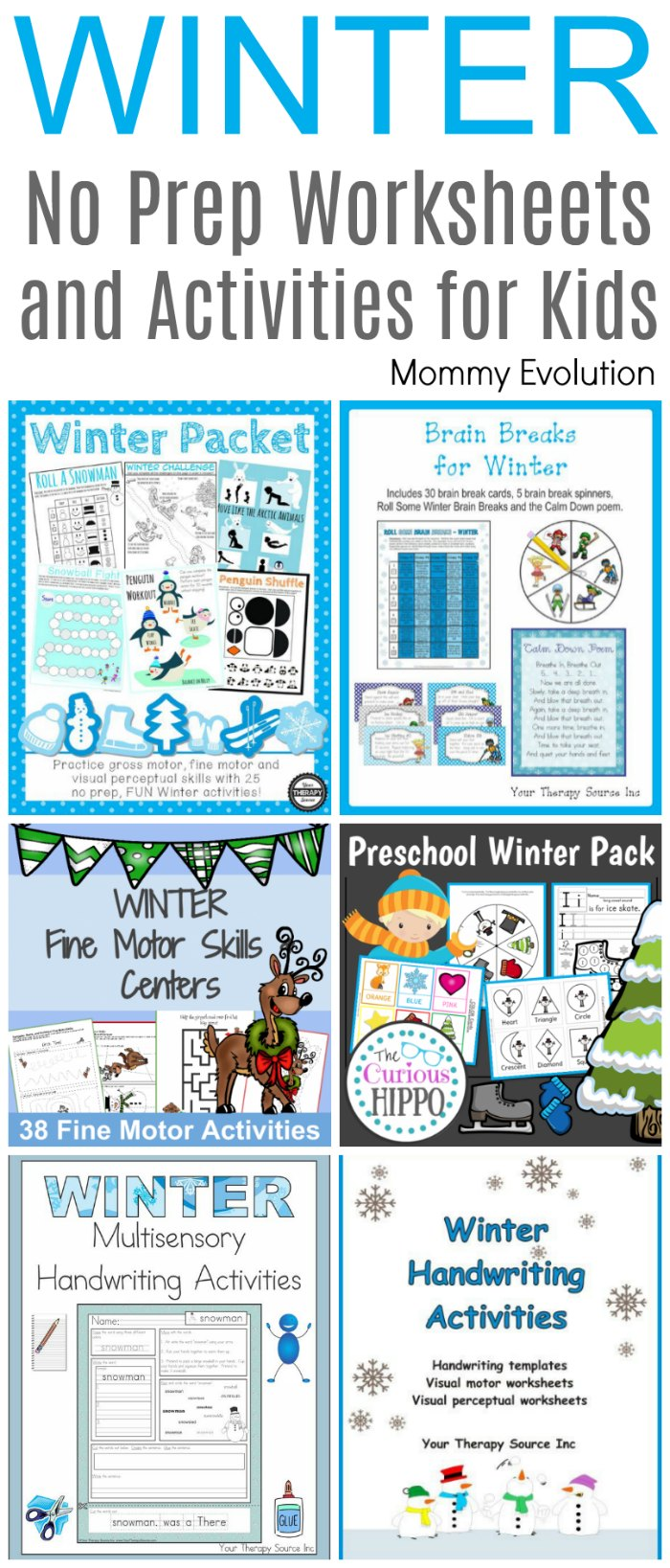 Winter No Prep Worksheets and Activities for Kids | Mommy Evolution - Perfect for preschool and elementary school classrooms as well as occupational therapy