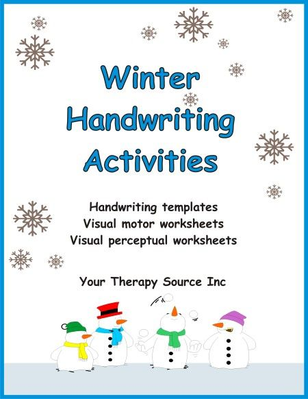 Winter Handwriting Activities - handwriting templates, visual motor worksheets and visual perceptual worksheets