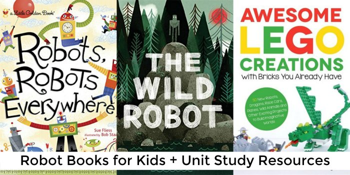 robot books for kids + unit study resources