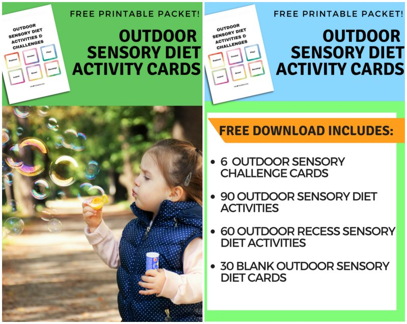 Outdoor Sensory Diet Cards and Sensory Challenge Cards are a FREE printable resource that encourages sensory diet strategies in the outdoors. In the printable packet, there are 90 outdoor sensory diet activities, 60 outdoor recess sensory diet activities, 30 blank sensory diet cards, and 6 sensory challenge cards.
