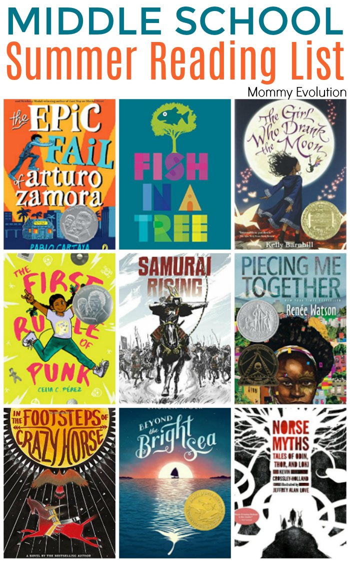 Middle School Summer Reading Book List | Middle School Summer Reading for Grade 6, Grade 7 and Grade 8 (6th, 7th and 8th grade) | Mommy Evolution