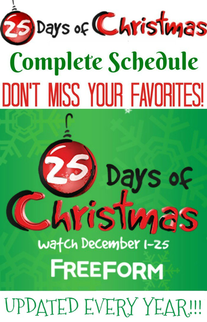 DON'T MISS YOUR FAVORITE CHRISTMAS MOVIES! 25 Days of Christmas Movies on Freeform TV - UPDATED EVERY YEAR!!!