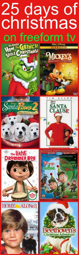 25 Days of Christmas Movies on Freeform TV for kids and Children