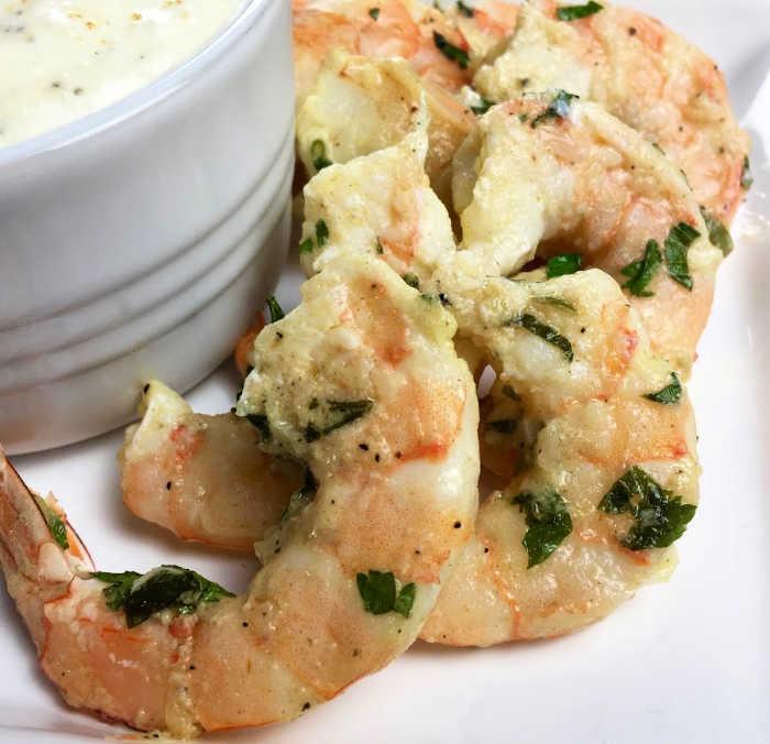 Parmesan Garlic Shrimp Recipe with Roasted Garlic Dip