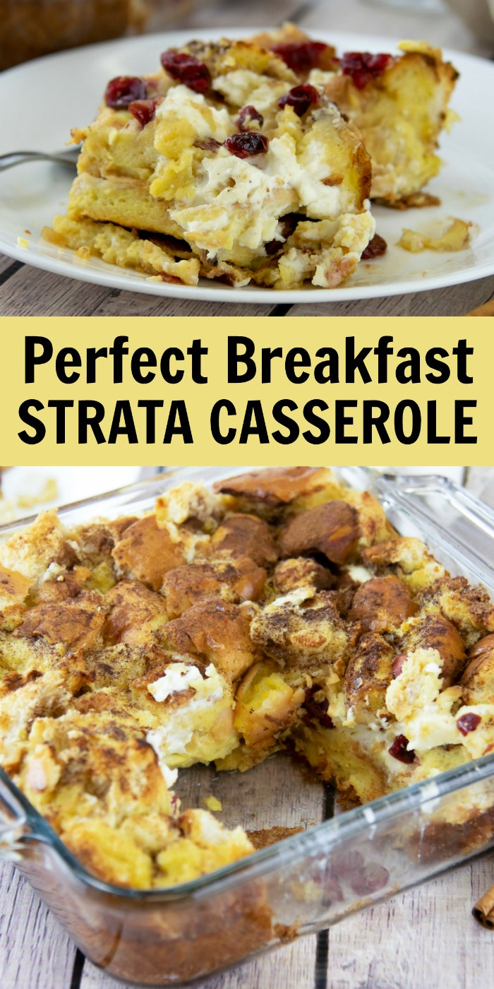 Easy Breakfast Strata Recipe with Cranberries - Make the night before for the perfect brunch recipe! | Mommy Evolution #breakfaststrata #stratarecipe #brunchrecipe #bruch #brunchcasserole