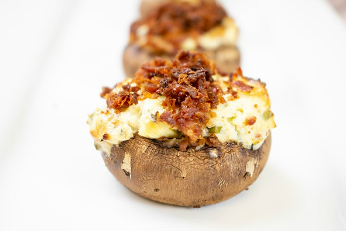 Easy Blue Cheese and Bacon Stuffed Mushrooms