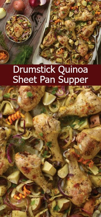 Easy Drumstick-Quinoa Sheet Pan Supper