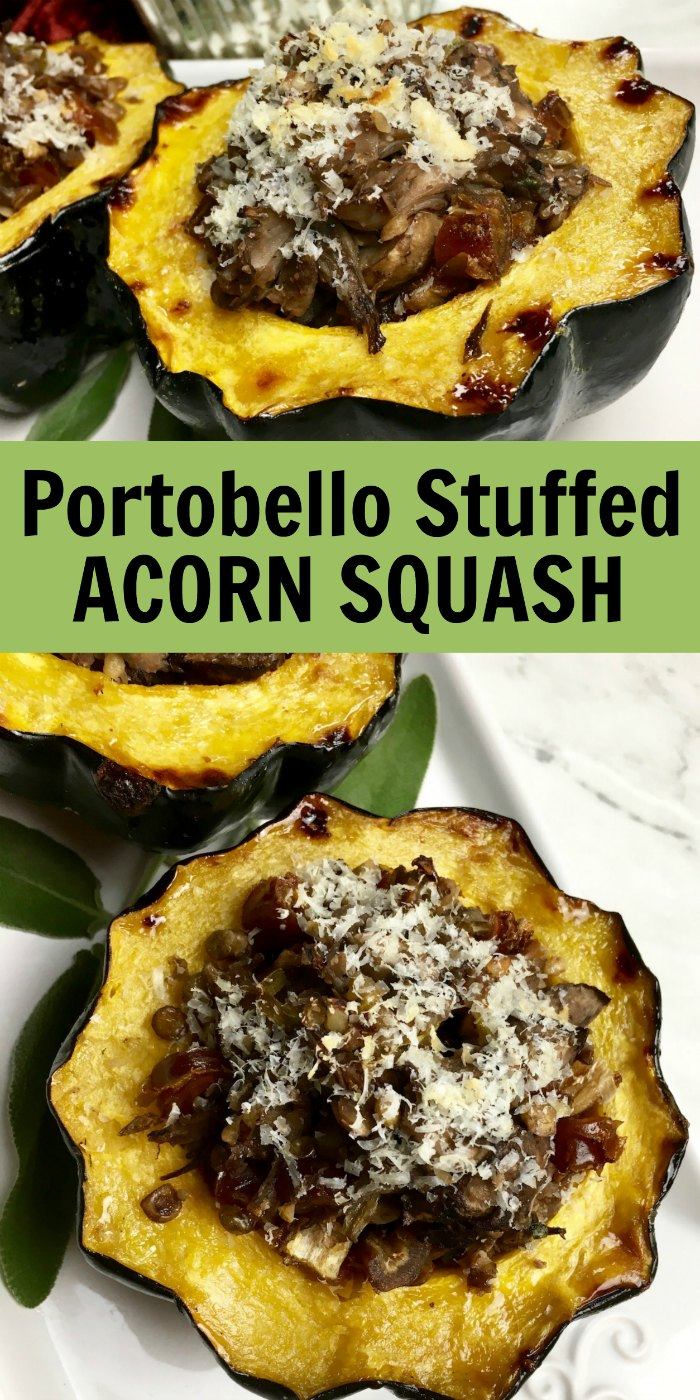 Portobello and Sage Stuffed Acorn Squash | Mommy Evolution #stuffedacornsquash #squashrecipe #acornsquash #acornsquashrecipe