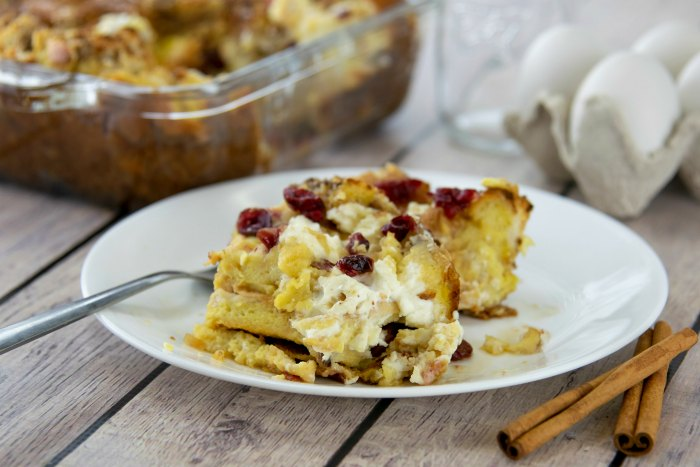 Easy Breakfast Strata Recipe with Cranberries