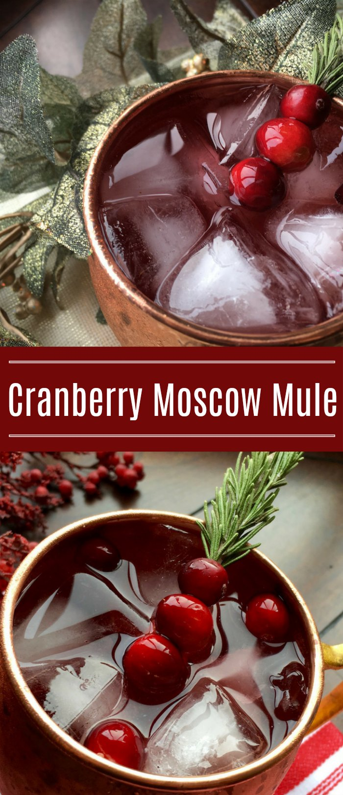 Cranberry Moscow Mule Cocktail - A bright splash of seasonal color transforms this classic cocktail into a new holiday favorite | Mommy Evolution #christmascocktail #wintercocktail