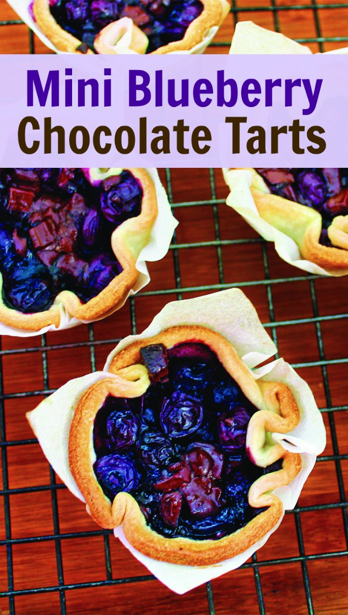 Mini Blueberry Tarts with Chocolate - the perfect Spring or Easter dessert | Mommy Evolution