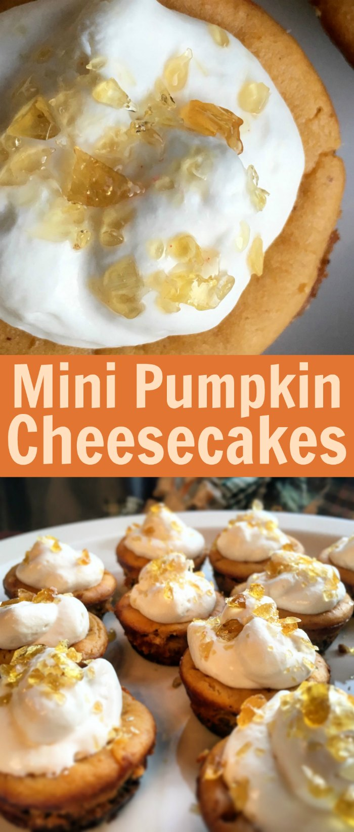 Mini Pumpkin Cheesecakes with Salted-Caramel Crunch Topping | Mommy Evolution #pumpkincheesecake #minicheesecakes
