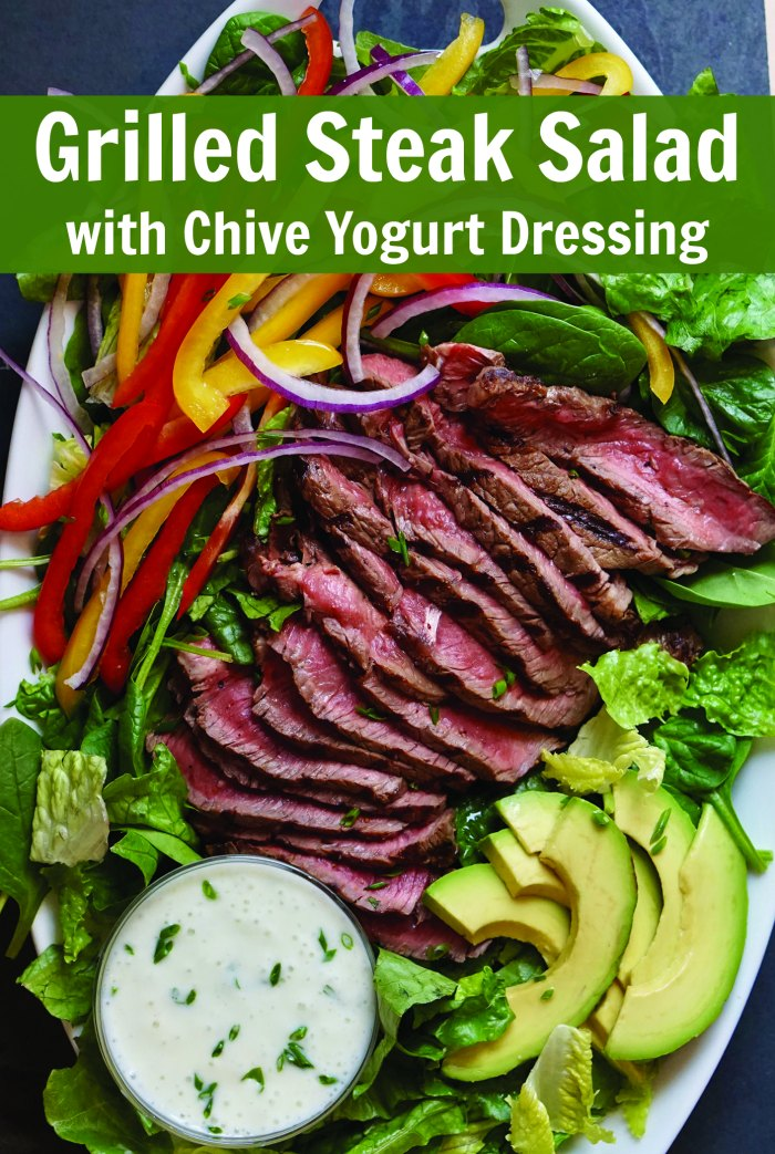 Grilled Steak Salad with Chive Yogurt Dressing | Mommy Evolution