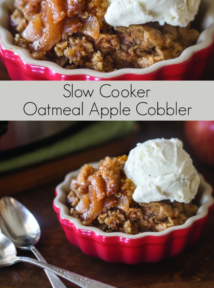 Slow Cooker Oatmeal Apple Cobbler Dessert | Mommy Evolution