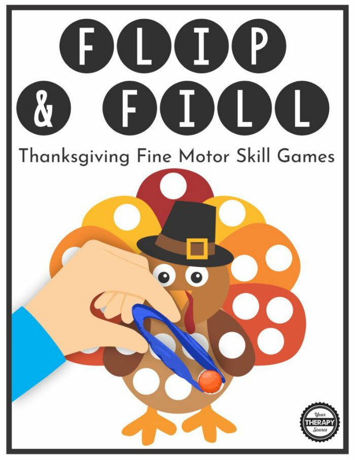 Flip & Fill Thanksgiving Fine Motor Skill Game