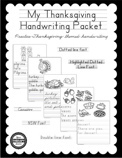 My Thanksgiving Handwriting Packet